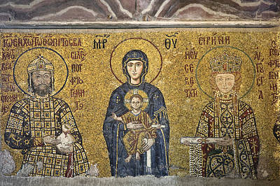 Byzantine Photograph - The Comnenus Mosaics In Hagia Sophia by Ayhan Altun