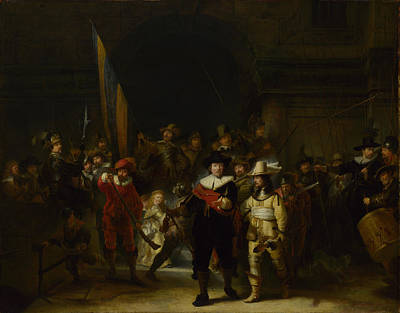 The Company Of Captain Banning Cocq The Nightwatch Art Print by Gerrit Lundens after Rembrandt