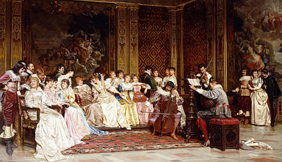 Cello Painting - The Concert by Joseph Frederic Charles Soulacroix