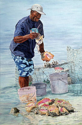 Painting - The Conch Man by Roshanne Minnis-Eyma