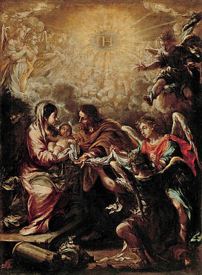 Juan De Valdes Leal Painting - The Conferring Of The Name Of Jesus by Juan de Valdes Leal