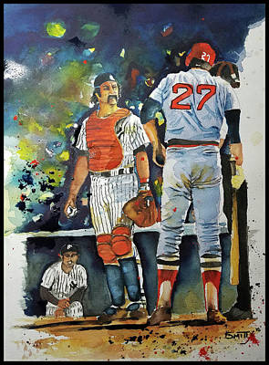 Red Sox Art Painting - The Conflict At Home Plate by Fred Smith