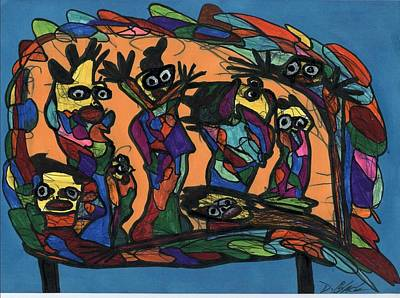 Drawing - The Congregation  by Darrell Black