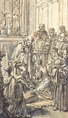 Religious Art Drawing - The Consecration Of Saint Juliana Falconieri by Pier Leone Ghezzi