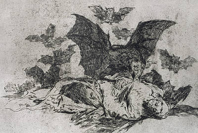 Bat Drawing - The Consequences by Goya