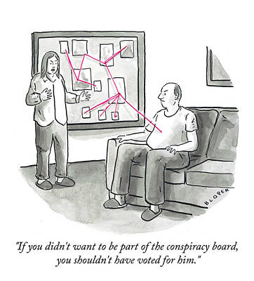 Drawing - The Conspiracy Board by Brendan Loper