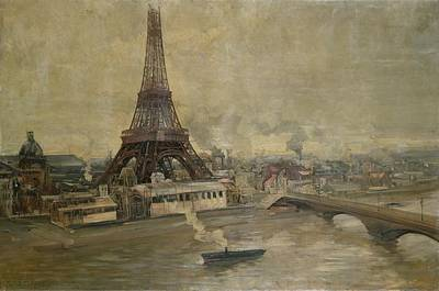 Exhibition Painting - The Construction Of The Eiffel Tower by Paul Louis Delance