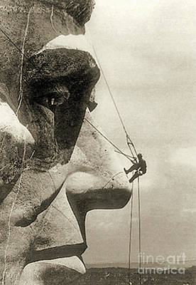 Mount Rushmore Photograph - The Construction Of The Mount Rushmore National Memorial, Detail Of Abraham Lincoln,1928  by American School