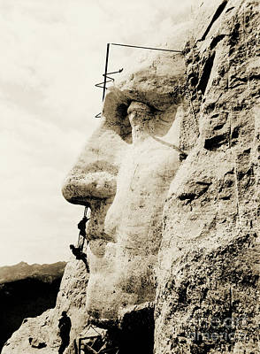 The Construction Of The Mount Rushmore National Memorial, Detail Of George Washington Art Print by American School