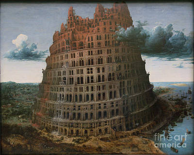 The Construction Of The Tower Of Babel Art Print by Celestial Images