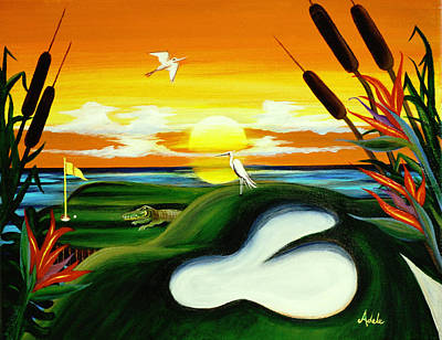 Egret Painting - The Conundrum by Adele Moscaritolo