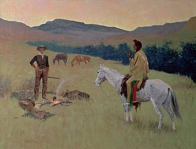 Horseback Painting - The Conversation by Frederic Remington