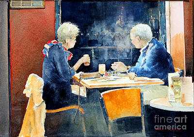 Night Out Painting - The Conversation by Monte Toon