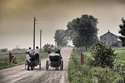 Mennonite Photograph - The Conversation by Russell Styles