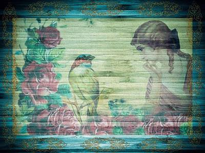 Mixed Media - The Conversation Shabby Chic Victorian Lady And Bird by Shabby Chic and Vintage Art