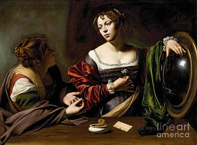 Sisters Painting - The Conversion Of The Magdalene by Michelangelo Merisi da Caravaggio