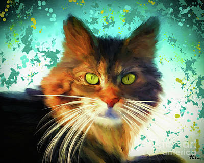 Digital Art - The Coon Cat by Tina LeCour