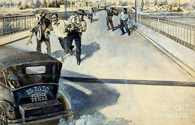 Patrol Car Painting - The Cop Who Raided Mexico Circa 1935 El Paso Texas by Peter Gumaer Ogden