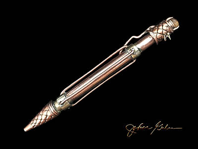 Pen Sculpture - the Copper Lizard, Original Pens, Prints, etc.  by Wonky Design Studio
