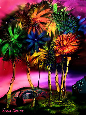 Palm Trees Mixed Media Mixed Media - The Corner Of My Mind  by Stevn Dutton