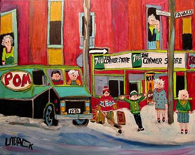 Painting - The Corner Store Fafard Congregation by Michael Litvack