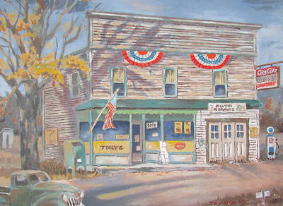 Painting - The Corner Store by Tony Caviston