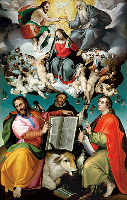 Saint Luke The Evangelist Painting - The Coronation Of The Virgin With Saints Luke Dominic And John The Evangelist  by Mountain Dreams