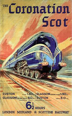 Royalty-Free and Rights-Managed Images - The Coronation Scot - Vintage Blue Locomotive Train - Vintage Travel Advertising Poster by Studio Grafiikka
