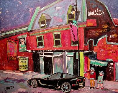 The Main Montreal Painting - The Corvette At Moishe's by Michael Litvack