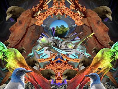 Corvid Digital Art - The Corvids Are Watching by Glen Faxon