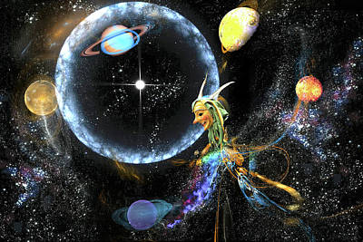 Jester Digital Art - The Cosmic Juggler by Lisa Yount