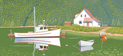 Digital Art - The Cottage At Blackberry Point by Gary Giacomelli