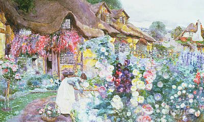 Summery Painting - The Cottage Garden by David Woodlock