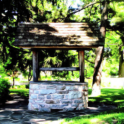 Walkway Digital Art - The Cottage Well by Leslie Montgomery