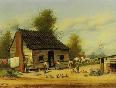 Negro Painting - The Cotton Pickers Cabin by William Walker