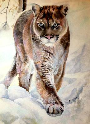 Frosty Weather Painting - The Cougar By Siobhan Lewis With Thanks To Mitchell Brown by Siobhan Lewis