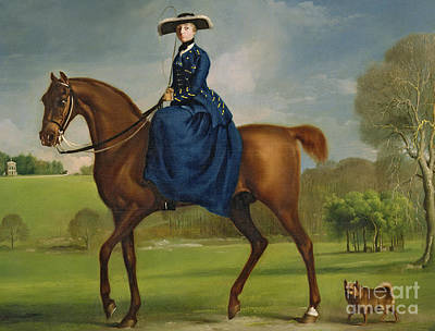 Horse Art Painting - The Countess Of Coningsby In The Costume Of The Charlton Hunt by George Stubbs