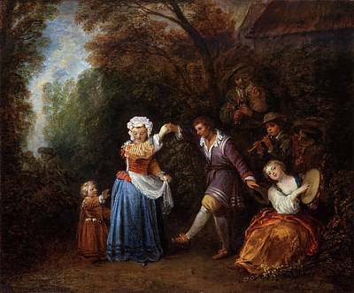 Baroque Painting - The Country Dance by Jean-Antoine Watteau