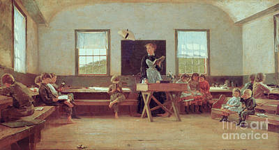 Blackboards Painting - The Country School by Winslow Homer
