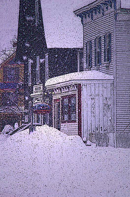 The Country Store Amidst The Snow  Art Print