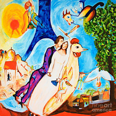 Marc Chagall Painting - The Couple Of The Eiffel Tower  by Art by Danielle