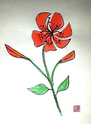 Painting - The Courage Of Tiger Lily by Margaret Welsh Willowsilk