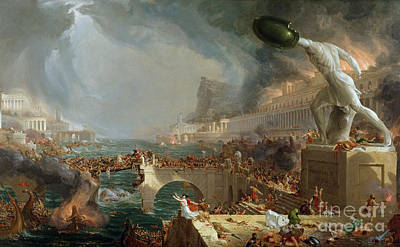 Shield Painting - The Course Of Empire - Destruction by Thomas Cole