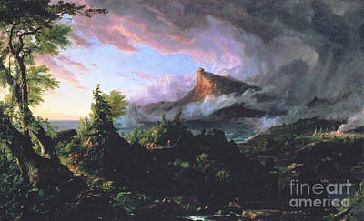 Volcano Painting - The Course Of Empire - The Savage State by Thomas Cole