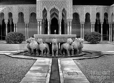 Historic Architecture Photograph - The Court Of The Lions Alhambra Bw by Guido Montanes Castillo