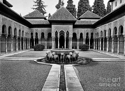 Historic Architecture Photograph - The Court Of The Lions Alhambra Spain Bw by Guido Montanes Castillo