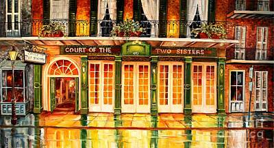 Night Lamp Painting - The Court Of Two Sisters On Royal by Diane Millsap