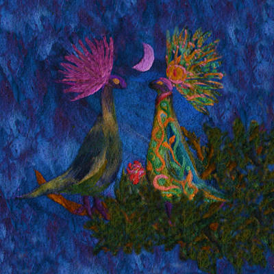 Fantasy Tapestries - Textiles Mixed Media - The Courtship - Illuminated by Susana Lavega