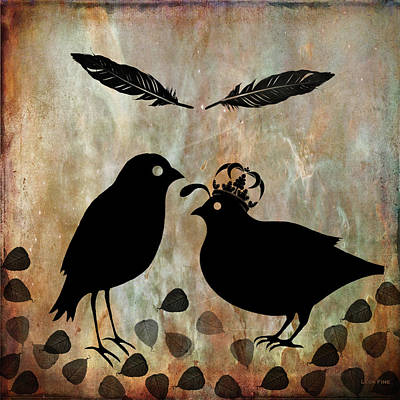 Mixed Media - The Courtship Square Brown by Lesa Fine