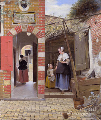 Pieter De Hooch Wall Art - Painting - The Courtyard Of A House In Delft by Celestial Images